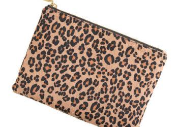J crew leopard calf hair pouch