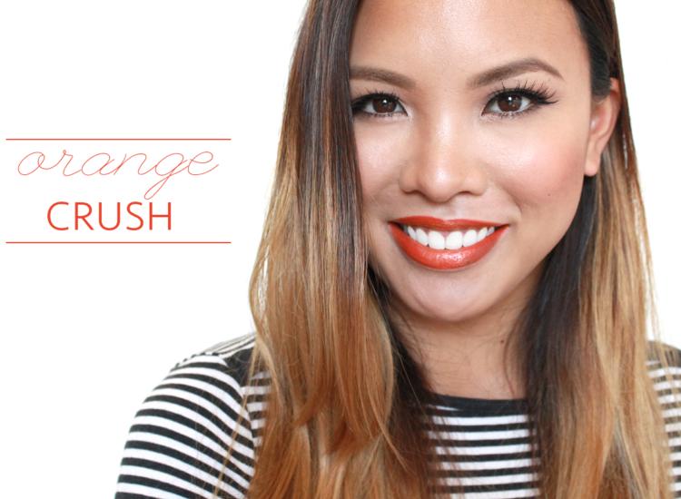 orange lipstick look