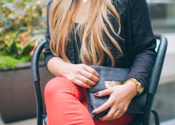 Red Pants Black Blazer Gorjana Griffin Jewelry