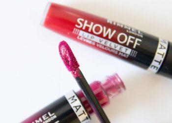 Rimmel Show Off Lip Velvet Review Swatches Burning Lava Meteoric Matte