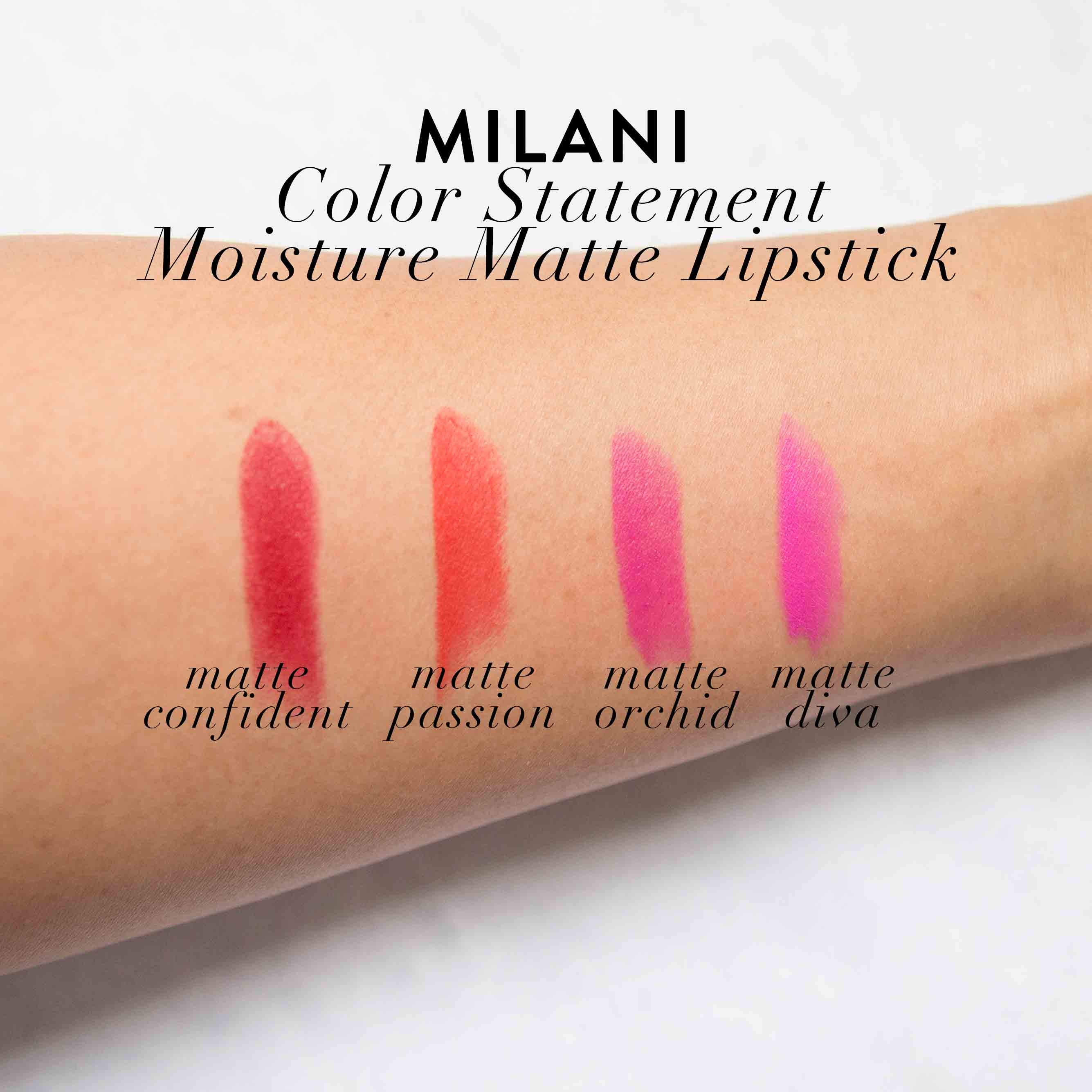 Milani Moisture Matte Lipstick Swatches Review