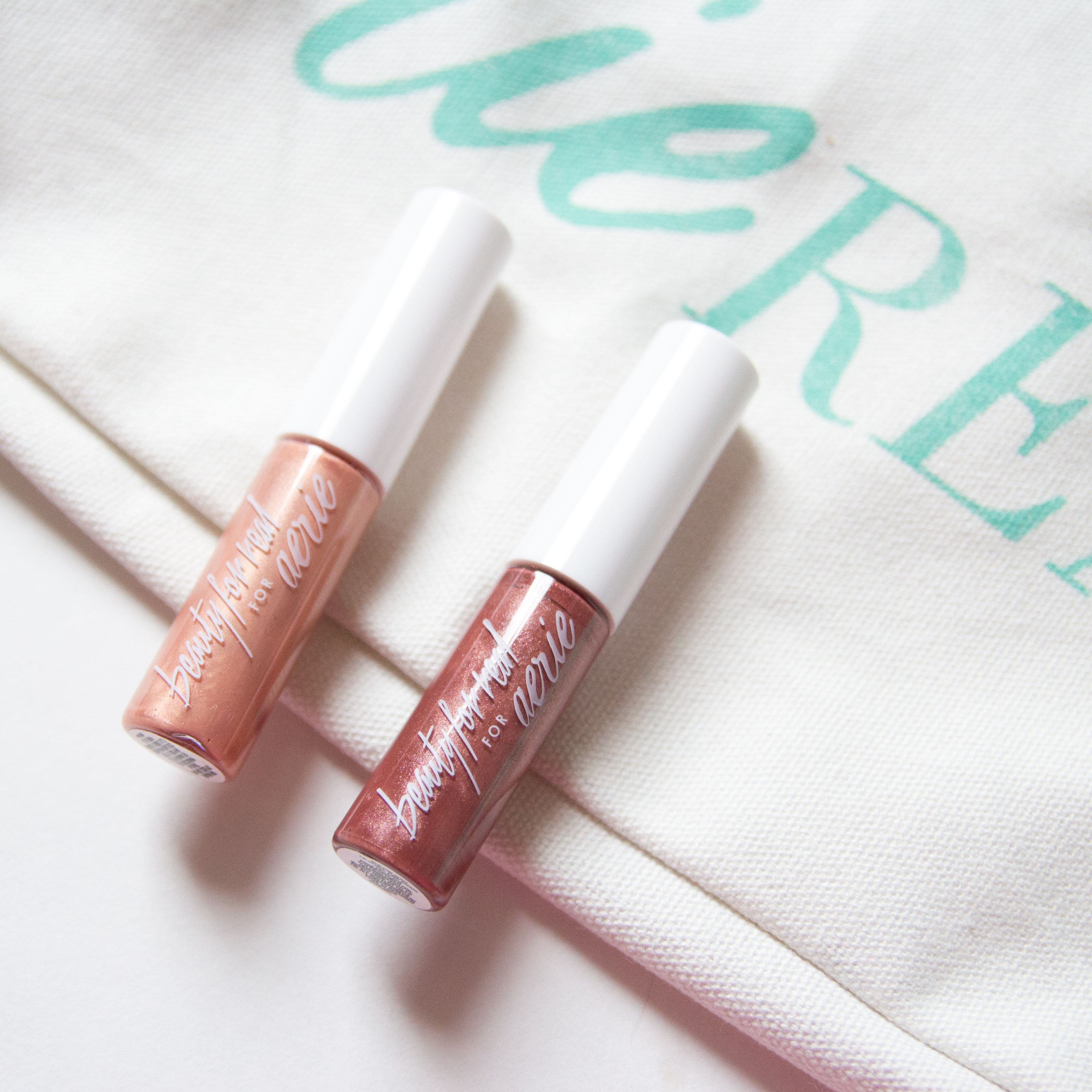 Aerie Beauty For Real Pink Sands, Sun-Shine Lip Gloss Swatches Review