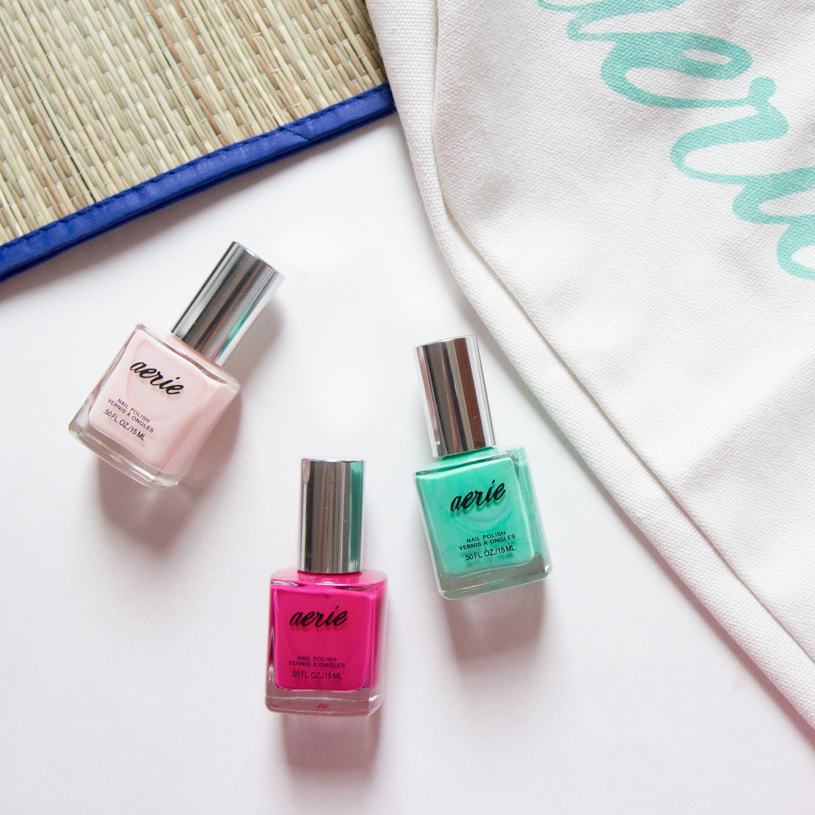 Aerie Beauty For Real Pretty Pink, Sea Foam Fun, Pink Lace Nail Polish Swatches Review