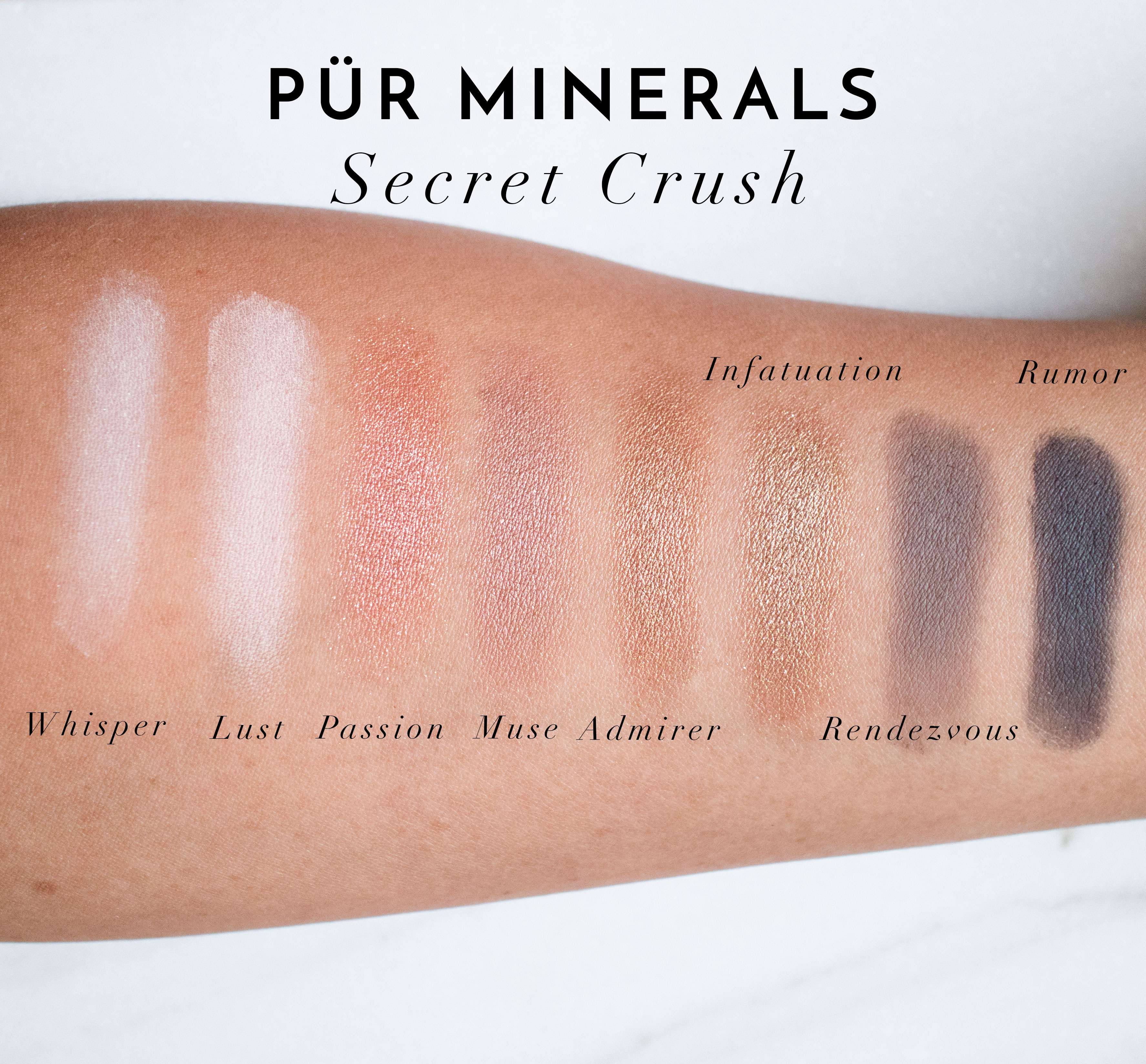 The Beauty Vanity | Pur Minerals Secret Crush Swatches Review