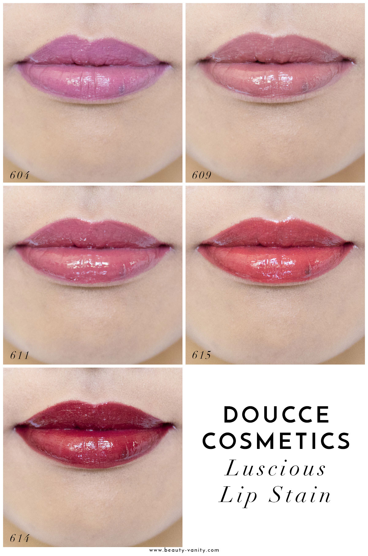 Doucce Cosmetics Luscious Lip Stain Swatches