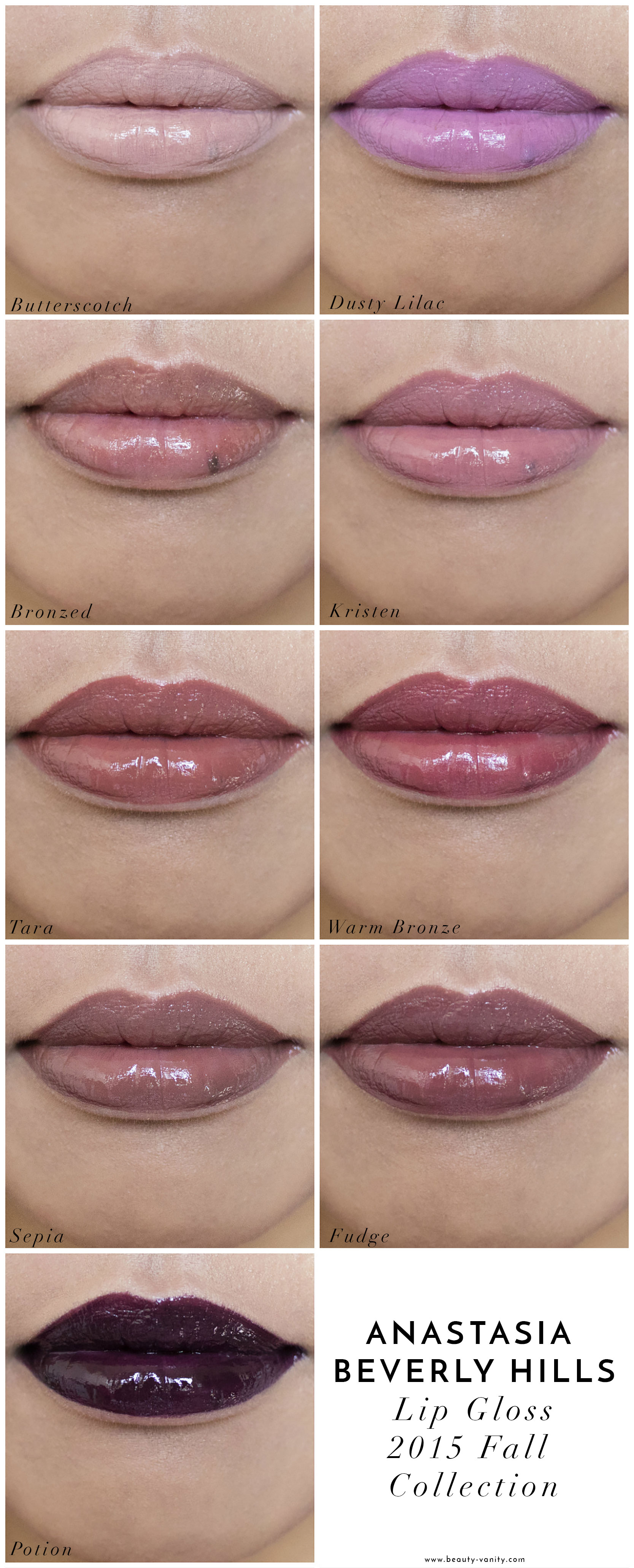 The beauty Vanity | Anastasia Lip Gloss Fall 2015 Swatches Review