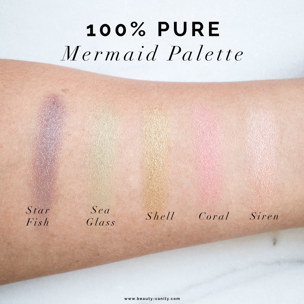 The Beauty Vanity | 100% Pure Mermaid Palette Swatches Review