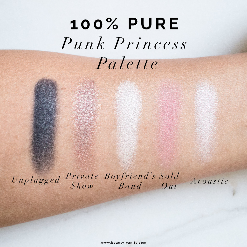 The Beauty Vanity | 100% Pure Punk Princess Palette Swatches Review