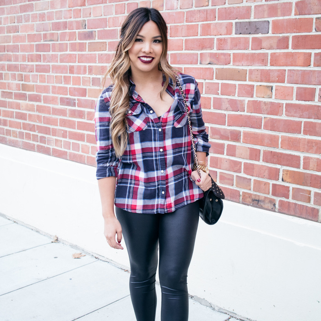 The Beauty Vanity | Fall Plaid Leather Look Leggings