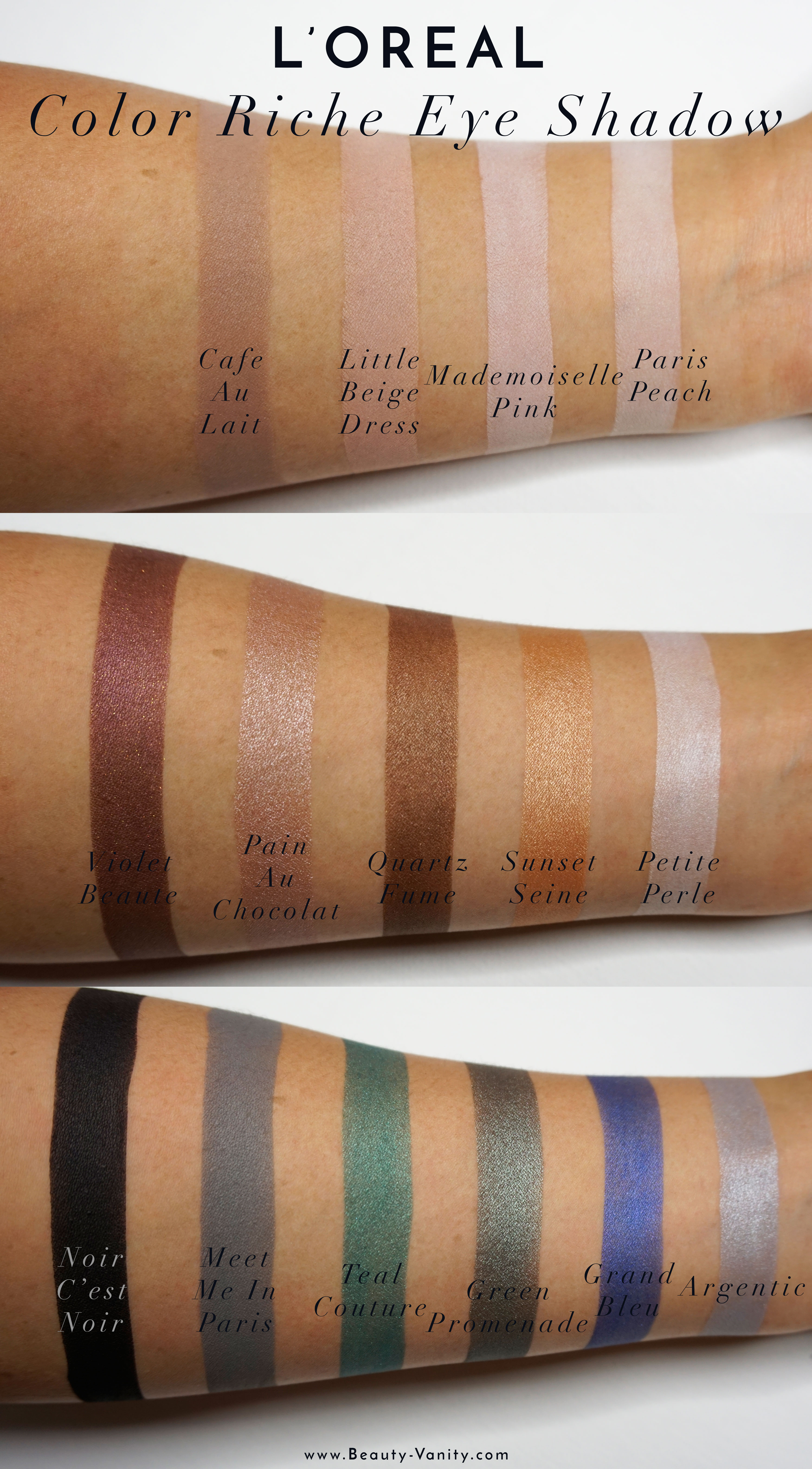 L Oreal Color Riche Mono Eye Shadow Review Swatches