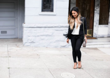 Banana Republic Fringe Blazer Cocktail Outfit | The Beauty Vanity