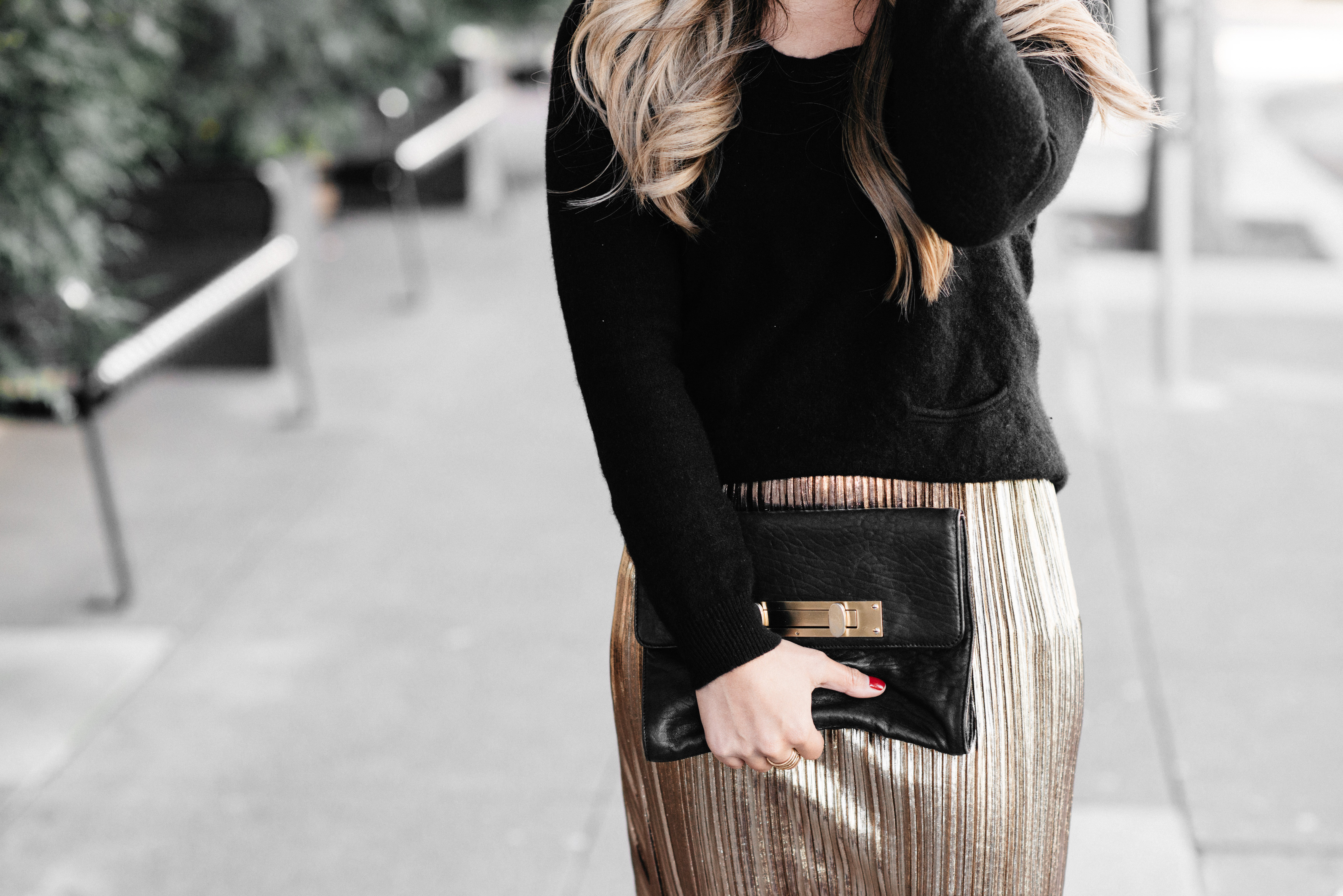 Holiday Gold Skirt Maxi Outfit | The Beauty Vanity
