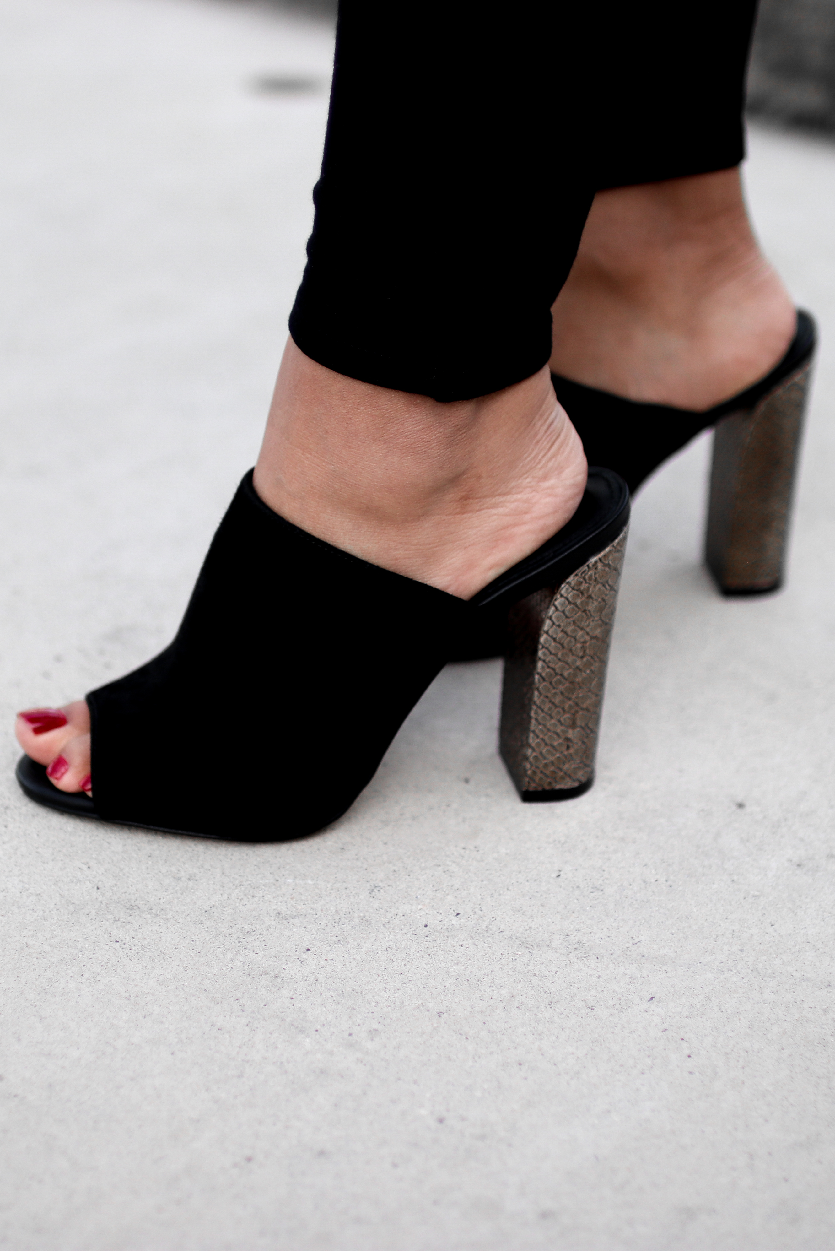 Holiday Office Party Outfit Calvin Klein Janica Mules | The Beauty Vanity