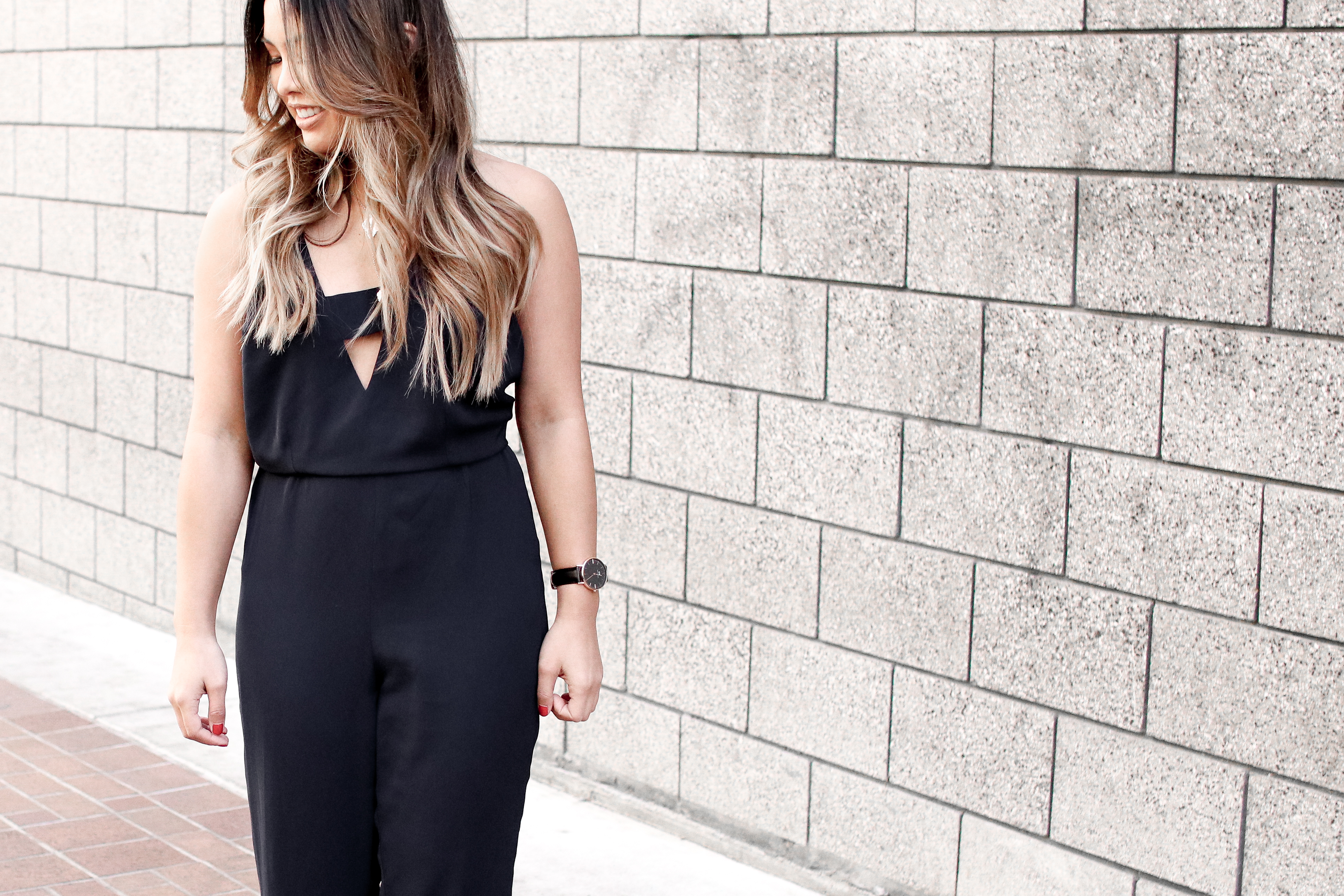 NYE Navy Cutout Jumpsuit Outfit | The Beauty Vanity