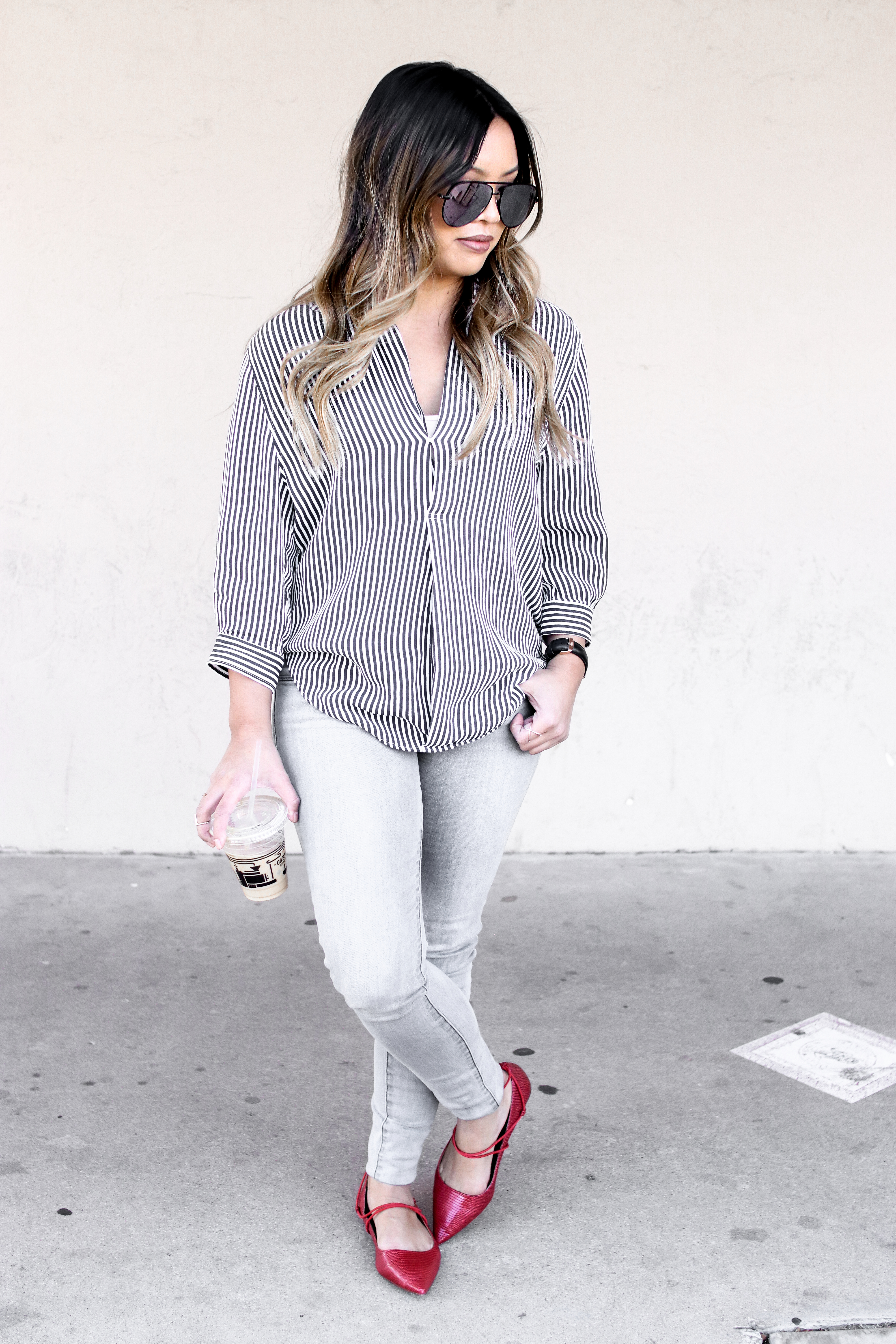 Old Town Scottsdale Weekend Stripe Blouse Zara Red Lace Up Flats Outfit | The Beauty Vanity