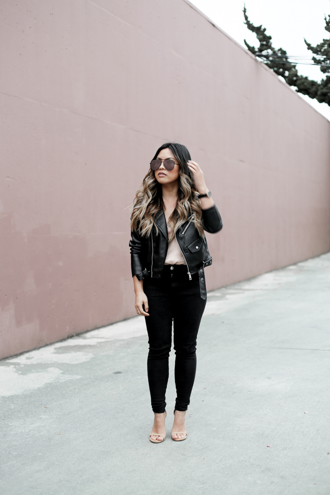 Valentine's Day Outfit Zara Black Leather Jacket |  The Beauty Vanity