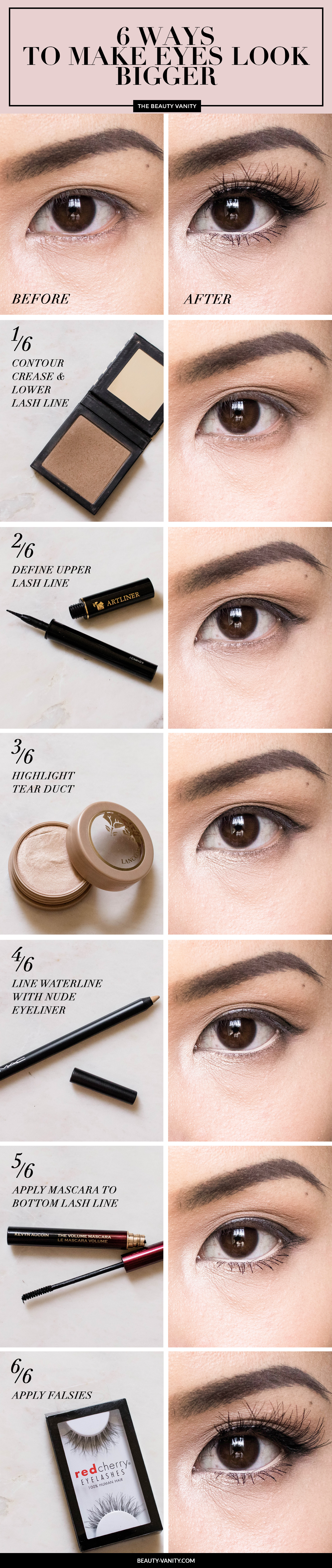 Eye makeup to make eyes look bigger